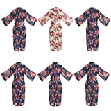 Set of 6 Women's Cotton Long Floral Wedding Robe - Bridesmaids Dressing Gown