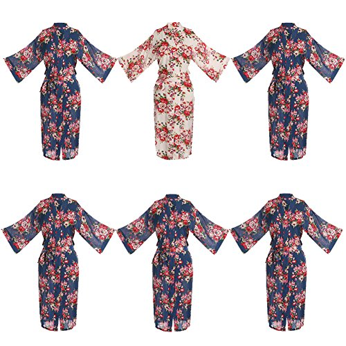 Set of 6 Women's Cotton Long Floral Wedding Robe - Bridesmaids Dressing Gown by ellenwell