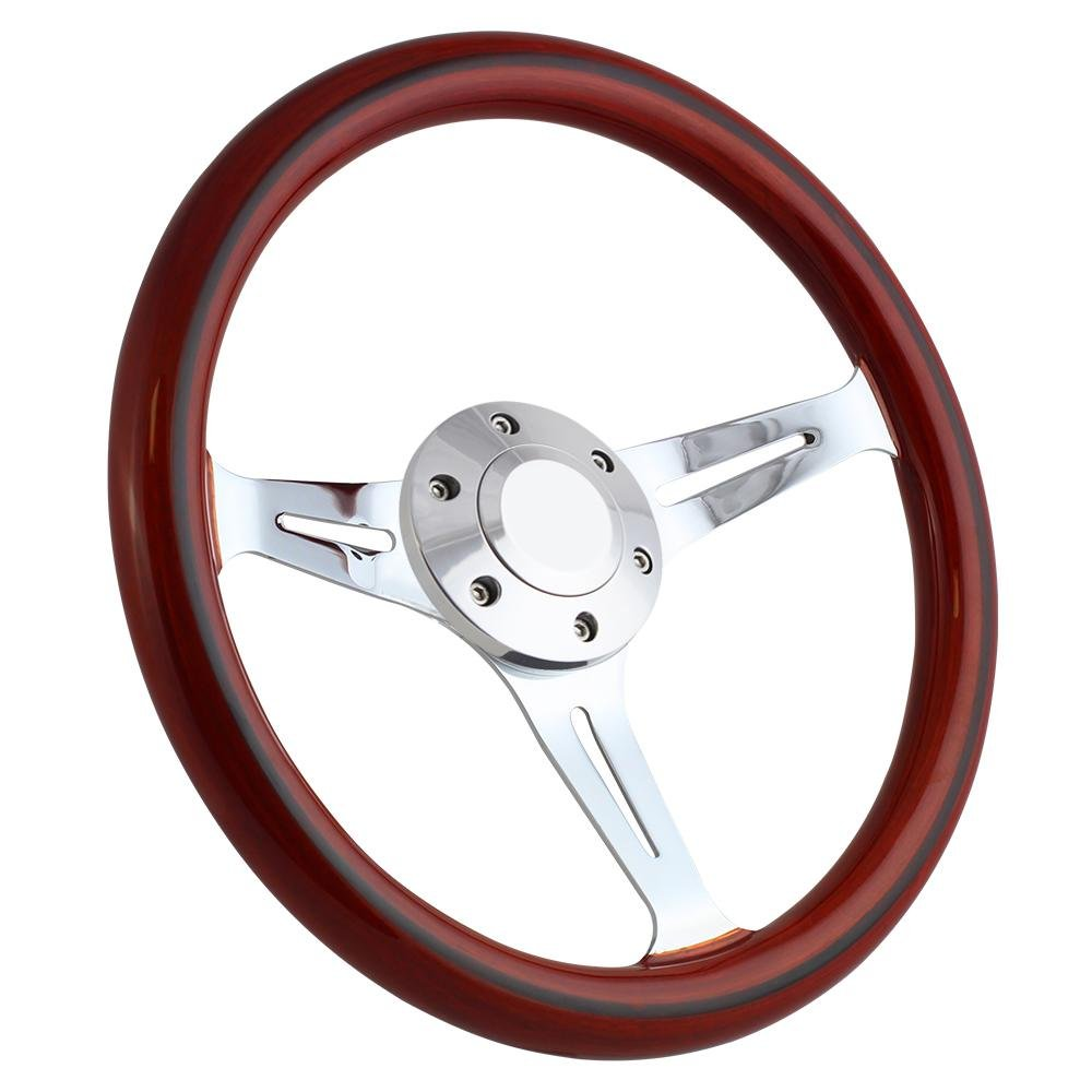 Forever Sharp 14 Inch Chrome Steering Wheel with Dark Wood Grip and Slotted Spokes