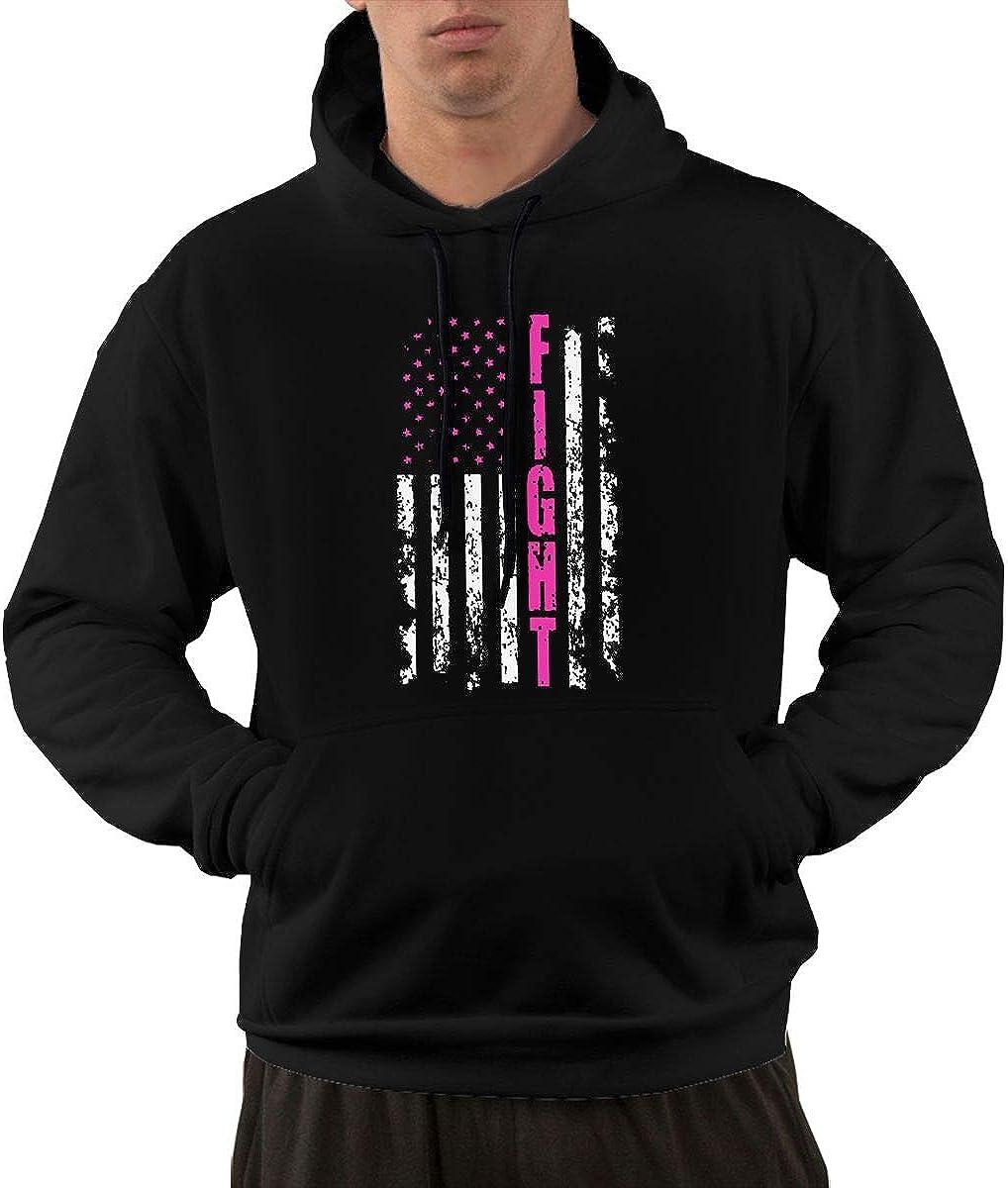 Slotley Fight Breast Cancer American Flag Mens Hoodie Sweatshirt
