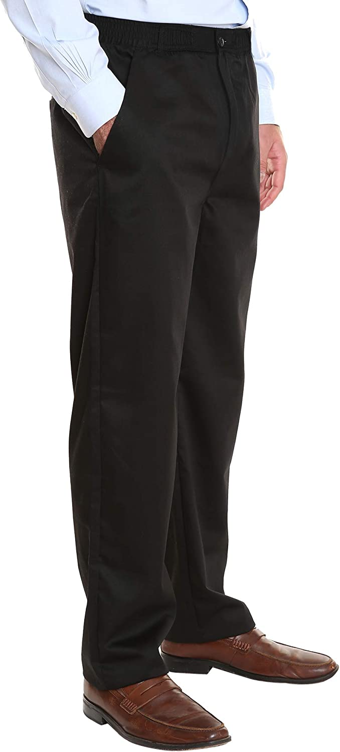 Pembrook Men's Elastic Waist Casual Pants Twill Pants with Zipper and Button