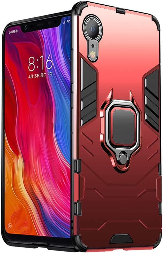 iPhone XR Case, Heavy Duty Shockproof Phone Cover with Magnetic Car Mount Metal Ring Kickstand for Apple iPhone XR 6.1inch - Red
