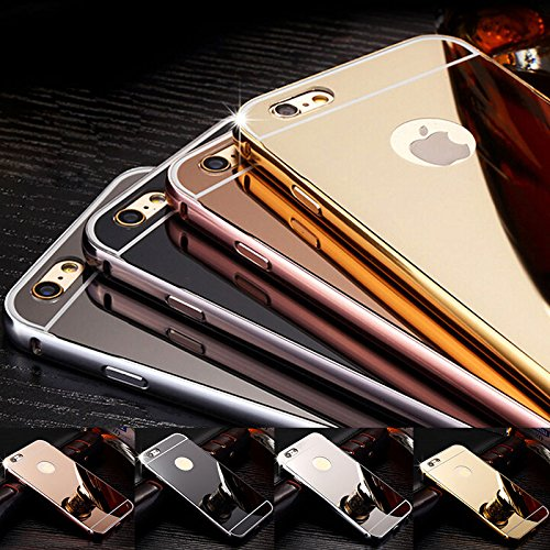 Luxury Aluminum Ultra-thin Mirror Metal Case Cover Reflection Protective Bumper Anti-Scratch Bright for iPhone 5/5s 6 6s/6plus 7 7Plus se Rose, Gold, Silver, Gray - Canada Black Mirror
