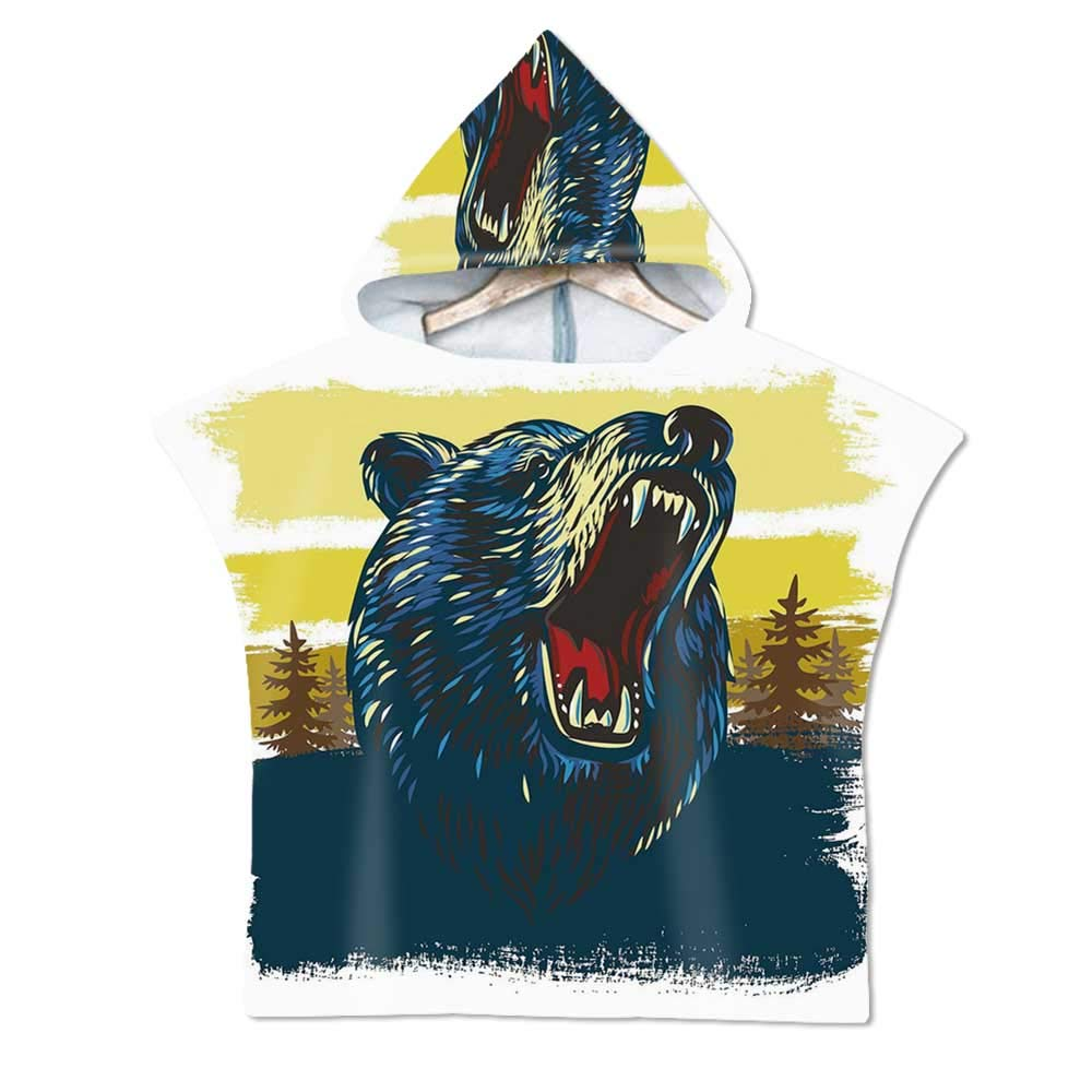 Cabin Decor Soft Hooded Beach Bath Towel,Angry Bear Head with Forest Backdrop Aggressive Expression Brush Strokes for Teenagers & Children,29.5''W x 43.3''H
