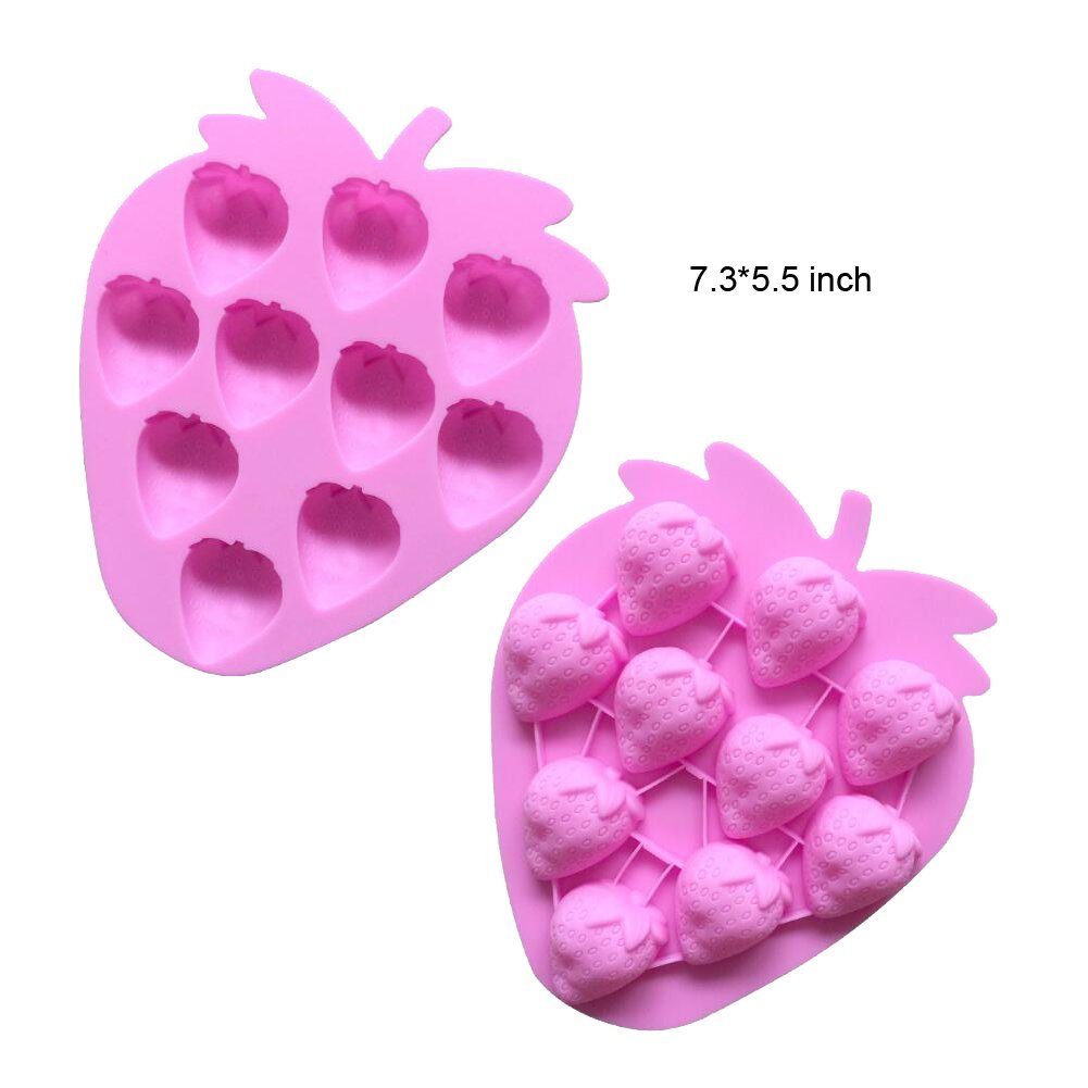 Set of 4 Fruits Series Silicone Cake Fondant Mold Strawberries Pineapples Apples Grapes Chocolate Mold for Sugarcraft Cake Decoration Candy Mold Cupcake Topper Summer Ice Cube Tray