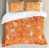 Burnt Orange King Size Duvet Cover Set by Ambesonne, Islamic Paisley Ethnic Unusual Motifs with Eastern Oriental Patterns Decorative, Decorative 3 Piece Bedding Set with 2 Pillow Shams, Orange White