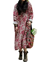 Yesno T104 Women Floral Dress 2 Layer 100% Cotton Casual Loose Fit Maxi Spring