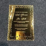 Morden Luxury 5X7inch Golden Mirror Acrylic Wedding Invitation Card 100 Pieces Per Lot