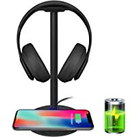 Wireless Charging with Headphone Stand New Bee Sturdy 2-in-1 Headset Holder & Wireless Charger Pad for iPhone 8/8 Plus/X…