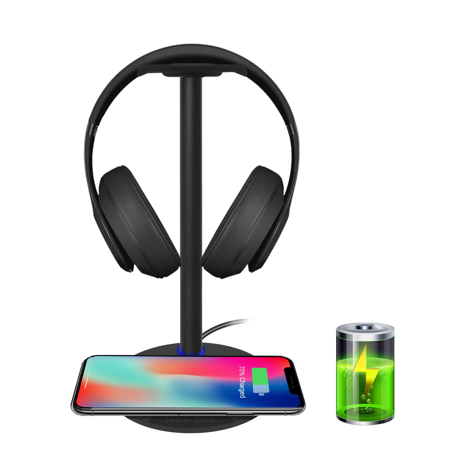 Wireless Charging with Headphone Stand New Bee Sturdy 2-in-1 Headset Holder & Wireless Charger Pad for iPhone 8/8 Plus/X Samsung S8/S8 PlusS7/S7 Edge/S6/S6 Edge with LED Indicator (Black) WirelessBK