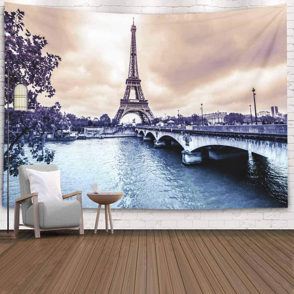 Crannel Wall Hanging Tapestry, Eiffel Tower Winter Rainy Day Paris Tapestry 60x50 Inches Wall Art Tapestries Hanging for Dorm Room Living Home Decorative