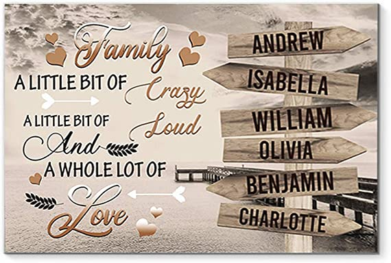 DesDirect Store Family Names Boardwalk A Little Bit of Crazy Loud Personalized Custom Canva