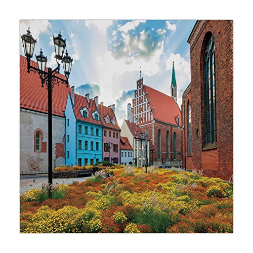 (iPrint Satin Square Tablecloth,Victorian Decor,Old City Riga Latvia Capital with Historical Buildings Medieval Town Image Decorative,Multicolor,Dining Room Kitchen Table Cloth Cover)