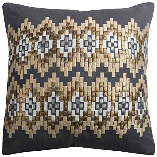 Rizzy Home PILT09691CL001818 One of A Kind Ikat Chevrons Decorative Pillow,Charcoal - Ikat Throw Pillow