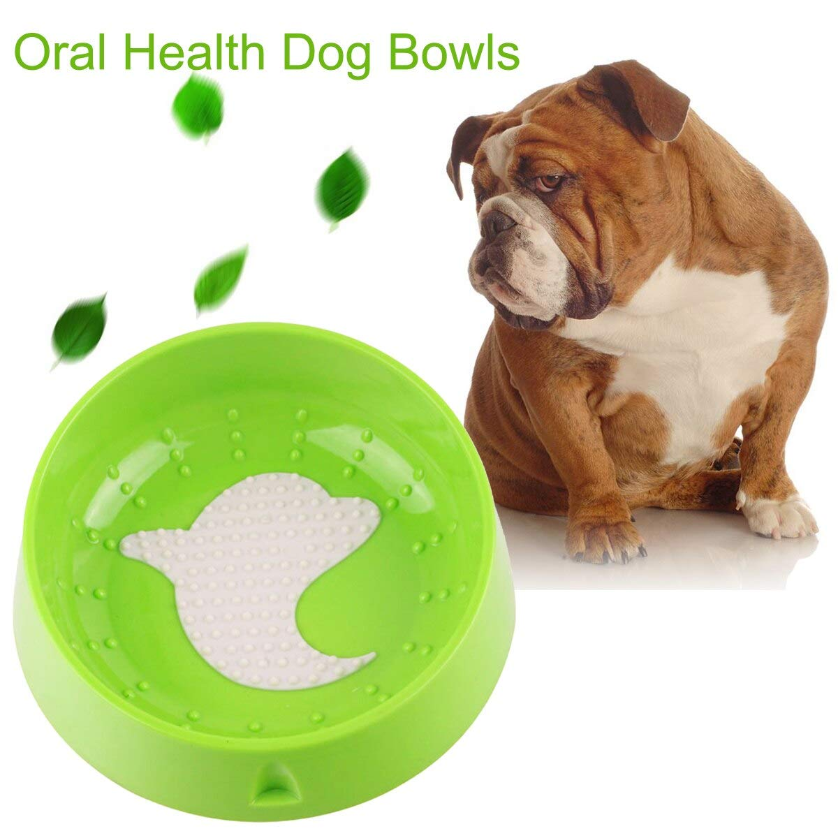 Dog Feeding - Pet Dog Puppy Bowl Oral Tongue Cleaning Anti Slip Tilt Neck Guard Drink Water Food Dolphin Health - Plate Automatic Medium Accesories Ball Eating Bone Place Clamp Large Stora