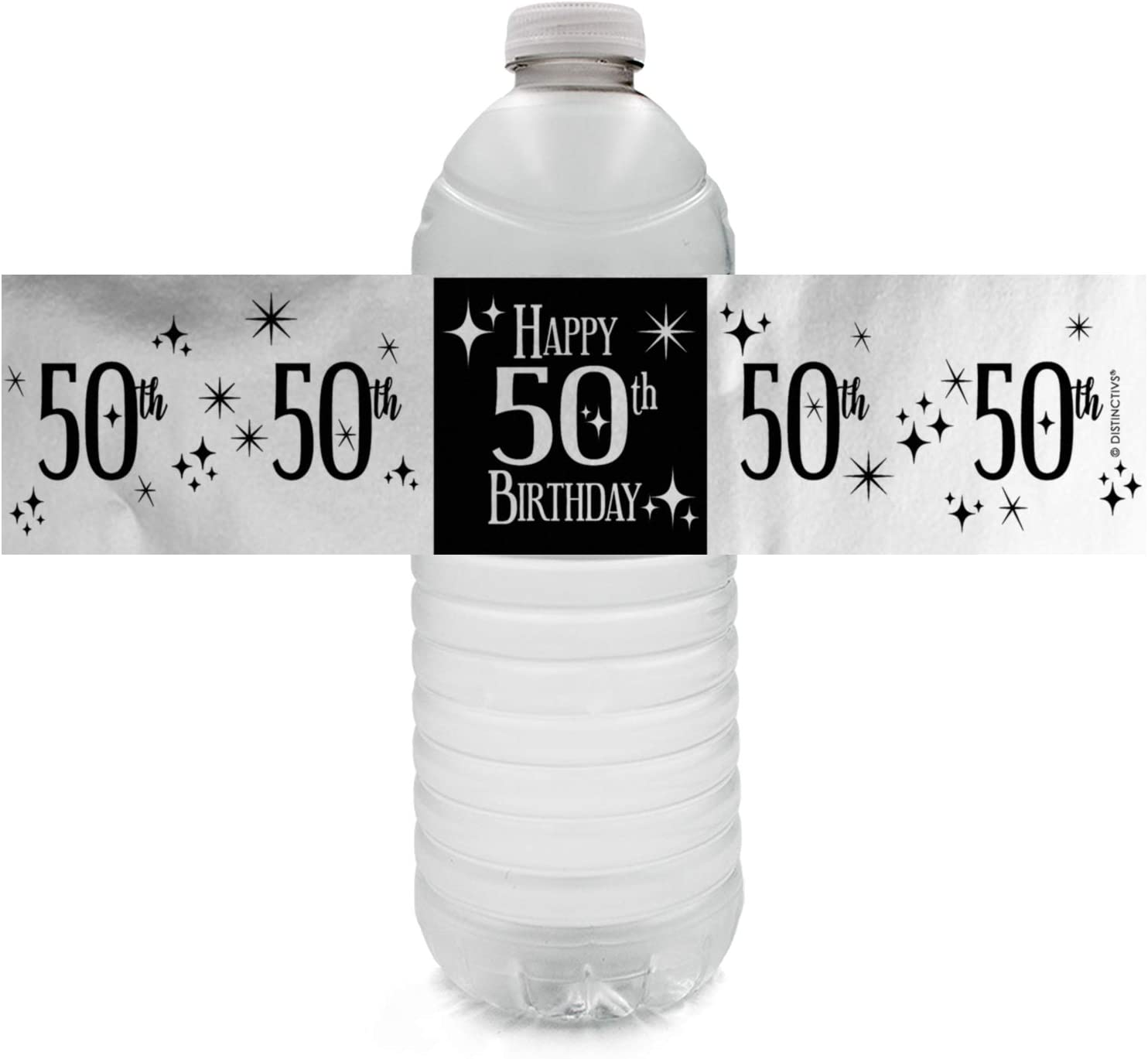 Black and Silver 50th Birthday Party Favor Labels Shiny Foil 216 Stickers