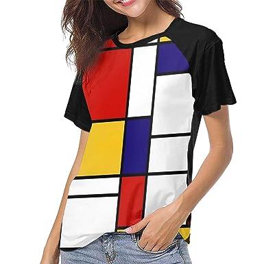 d3317d910acd5 IEHFE MCNXB Mondrian Style Women Raglan Short Sleeve Popular Print T-Shirts  Blouses Baseball Shirt at Amazon Women's Clothing store: