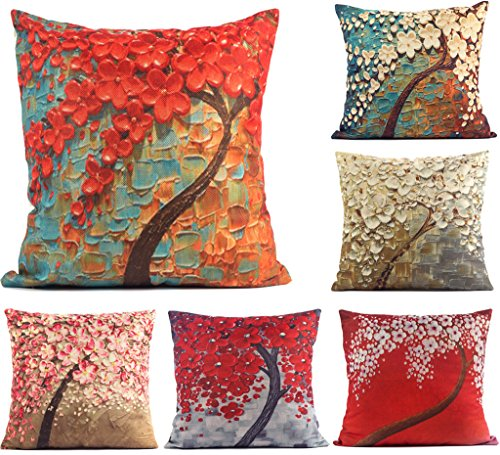DODOING 18 x 18 Standard Size 3D Oil Painting Flower and Black Tree Print Pattern Decorative Cotton Linen Throw Pillow Case Cushion Covers - 6 Pack(not include pillow inner)