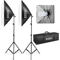 ESDDI Softbox Studio Set Fotografico Portatile, 800W Lampade 2(50x70cm) Softbox Kit Luce Continua 5500K Fotografia, Luci Fotografiche¡