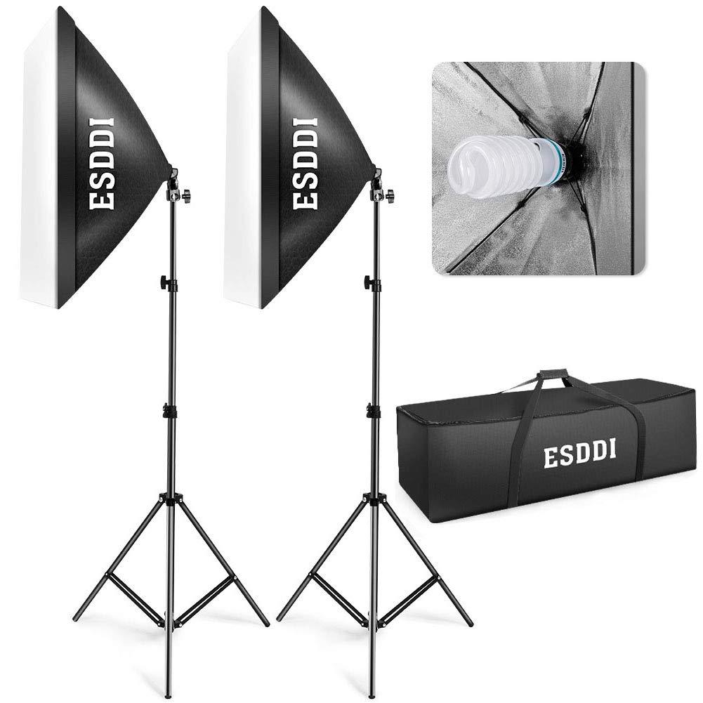 ESDDI Softbox Light Kit Studio Lighting Fotografia con 2 Bombilla de Foto 800W, 2 Ventana