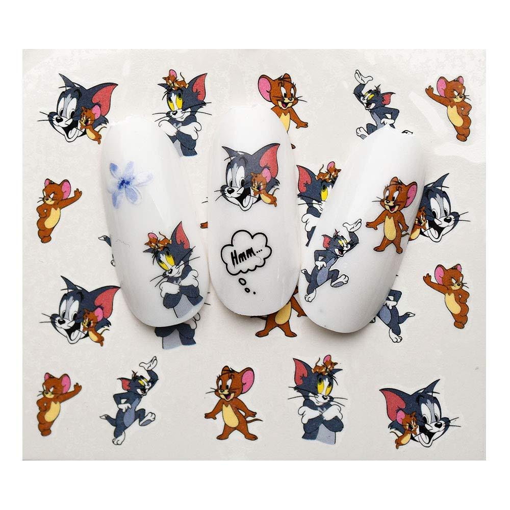 1 hoja de pegatinas de u/ñas de dibujos animados con dise/ño de Mickey//Tom y Jerry//Little Yellow Man Slider calcoman/ía de transferencia de agua para u/ñas