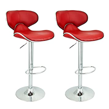 Apontus PU Leather Swivel Hydraulic Bar Stool with Back Cushion  Set of 2 Red  sc 1 st  Amazon.com & Amazon.com: Apontus PU Leather Swivel Hydraulic Bar Stool with ... islam-shia.org