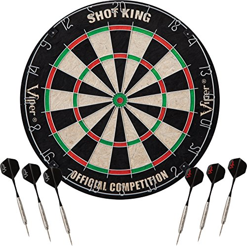 Steel Bullseye - Viper by GLD Products Viper Shot King Sisal/Bristle Steel Tip Dartboard with Staple-Free Bullseye and 6 Darts