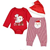 Christmas Outfits Set Baby Girls Boys My First Christmas Rompers Pajama Santa Claus Pants with Christmas Hat