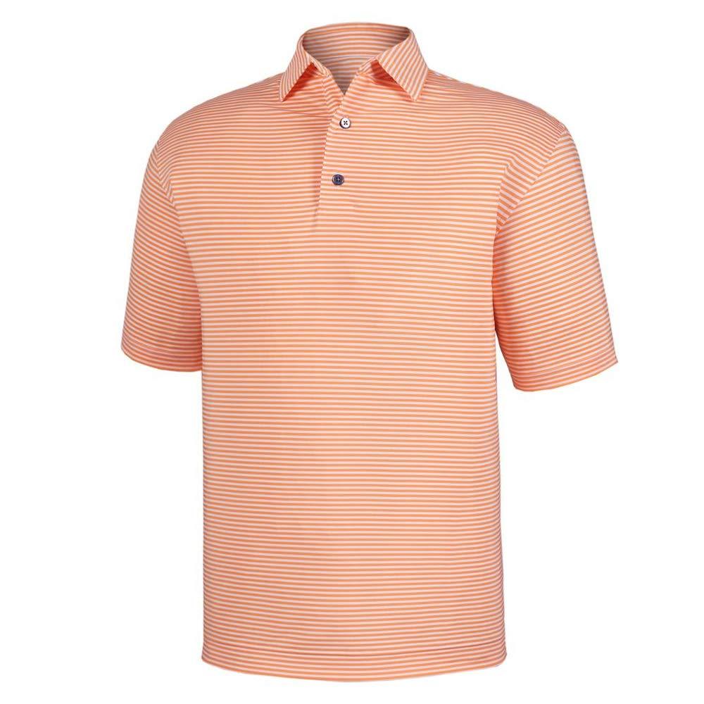 メンズFootjoy Lisle Feeder Stripe Self Collarゴルフシャツ Large Tangerine/White B07JQN1Q7S