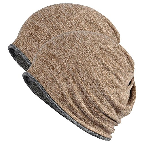 FORTREE 2 Pack Multifunction Slouchy Beanie for Jogging, Cycling (Brown & Grey)