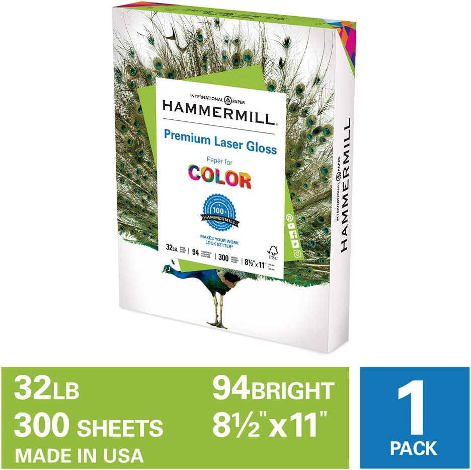 Hammermill Premium Laser Gloss 32lb Copy Paper, 8.5 x 11, 1 Pack, 300 Total Sheets, Made in USA, Sustainably Sourced From American Family Tree Farms, 94 Bright, Acid Free, 163110R : Laser Printer Paper : Office Products