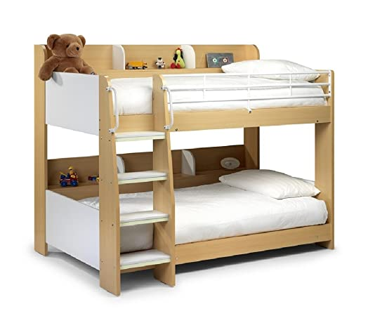 Happy Beds Domino Bunk Bed Maple And White Finished Sleep Station Childrens Kids 2x Luxury Spring
