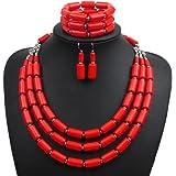 Lanue Fashion Handmade Bead Multilayer Statement Necklace Bracelet Earrings Jewelry Set