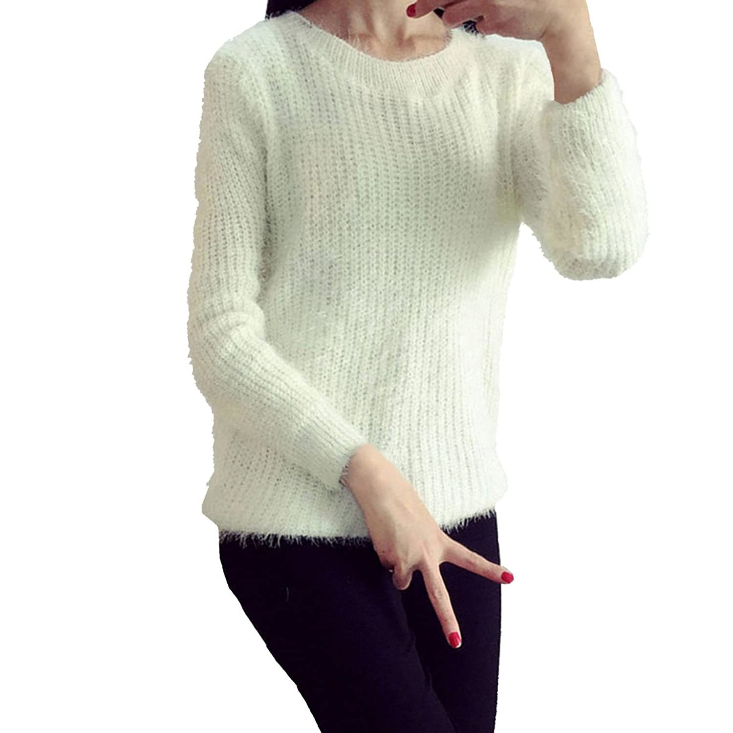 Evaliana Women Fluffy Mohair Blend Pullover Knit Sweater Jumper Knitwear free shipping
