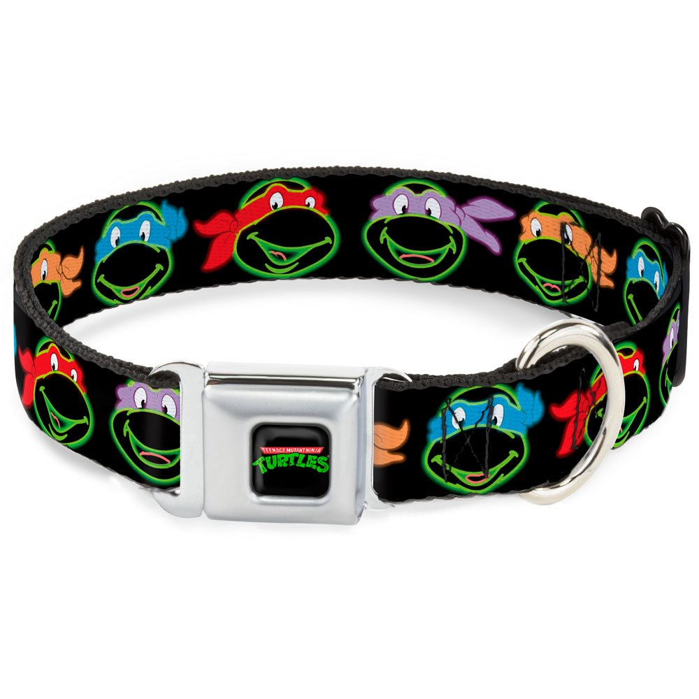 Buckle-Down Seatbelt Buckle Dog Collar Classic TMNT Electric Expressions Black Multi Neon 1  Wide Fits 11-17  Neck Medium