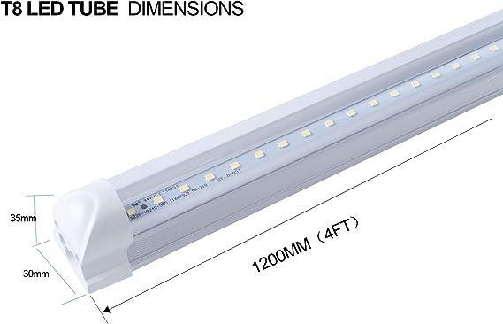 12 Pack T8 Led Tube Lights,8FT Integrated Single Fixture,6000K Shop Light,White Daylight,Milky Cover,8 Foot 48W Indoor Bulb Light for Garage Warehouse Workshop,AC110-277