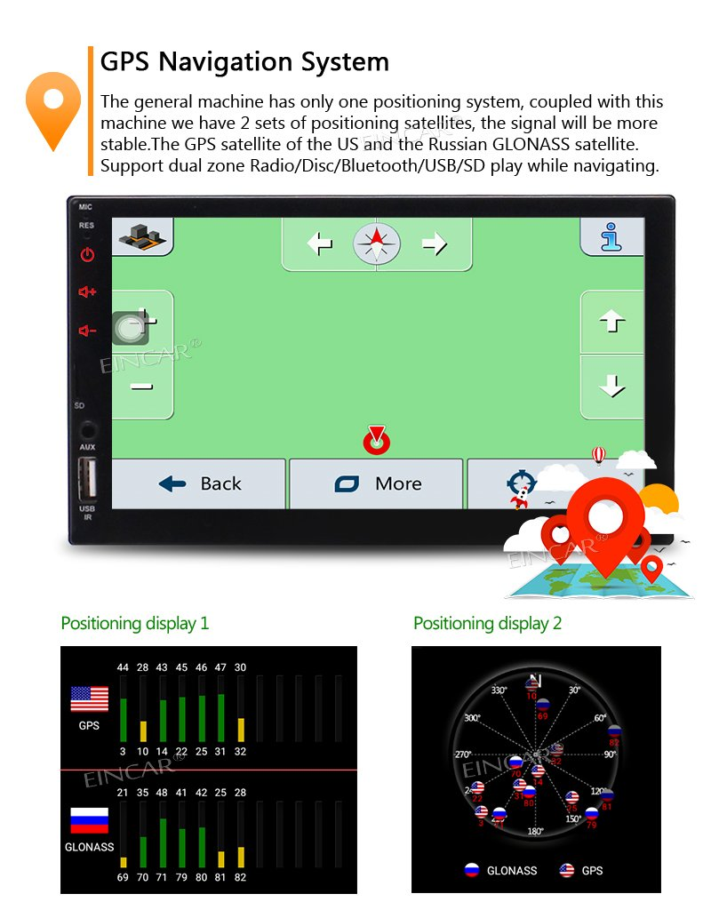 Remote Control and Rear Camera Autoradio Android Carplay Head Unit Support GPS Navigation FM//AM RDS Radio AUX Bluetooth Double Din 7 Inch Touch Screen Car Stereo with Built-in HD Radio
