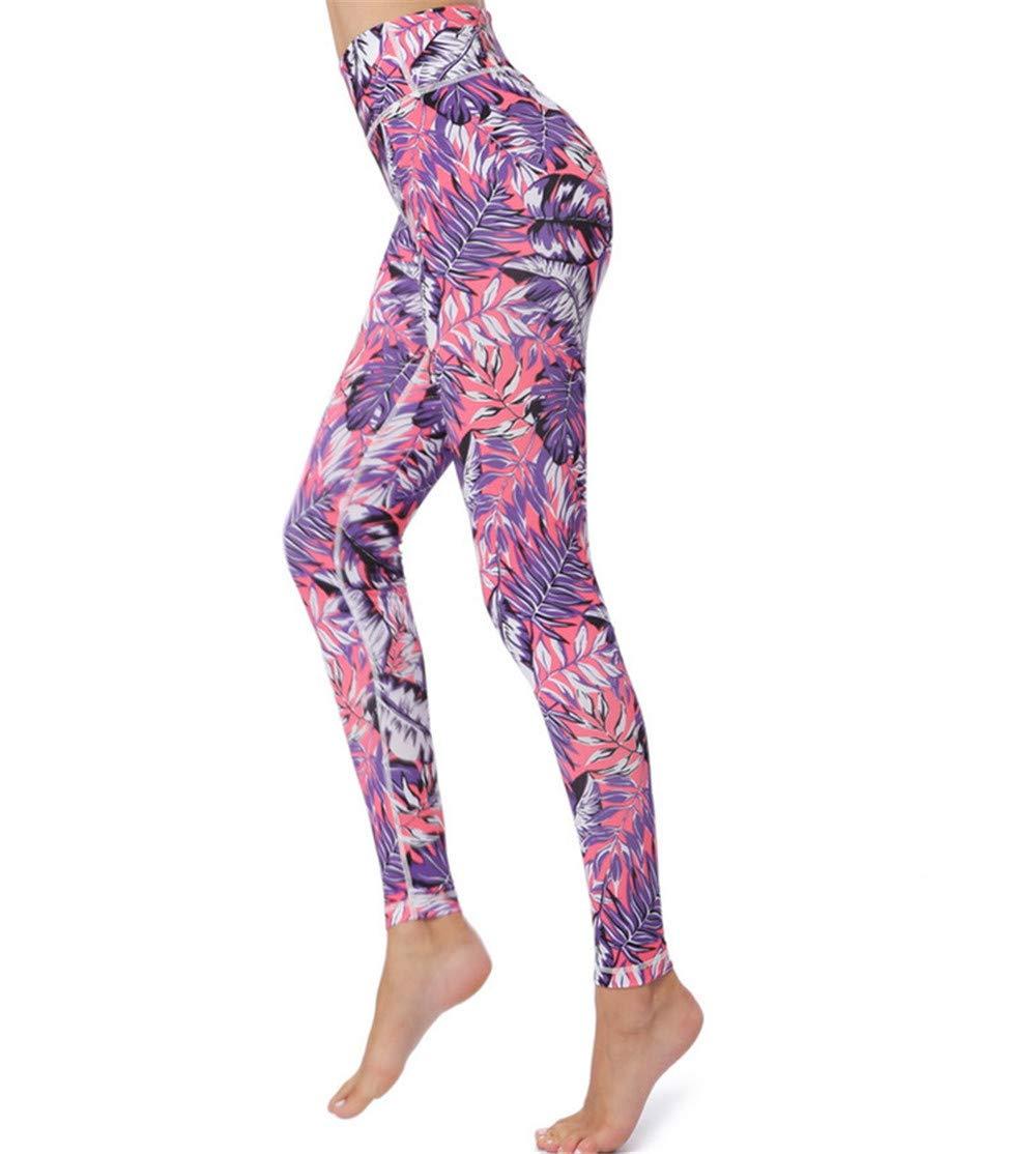 Pink Yoga Pants for Women, Floral Prints Yoga Pants,Stretchy Slim Workout Dance Jogging Running Tights High Waist Lightweight Leggings Running Workout Leggings (color   Black, Size   M)