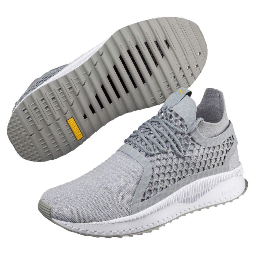 Puma Tsugi Netfit V2 Evoknit Quarry White Spectra Yellow Mens Athletic Training Shoes