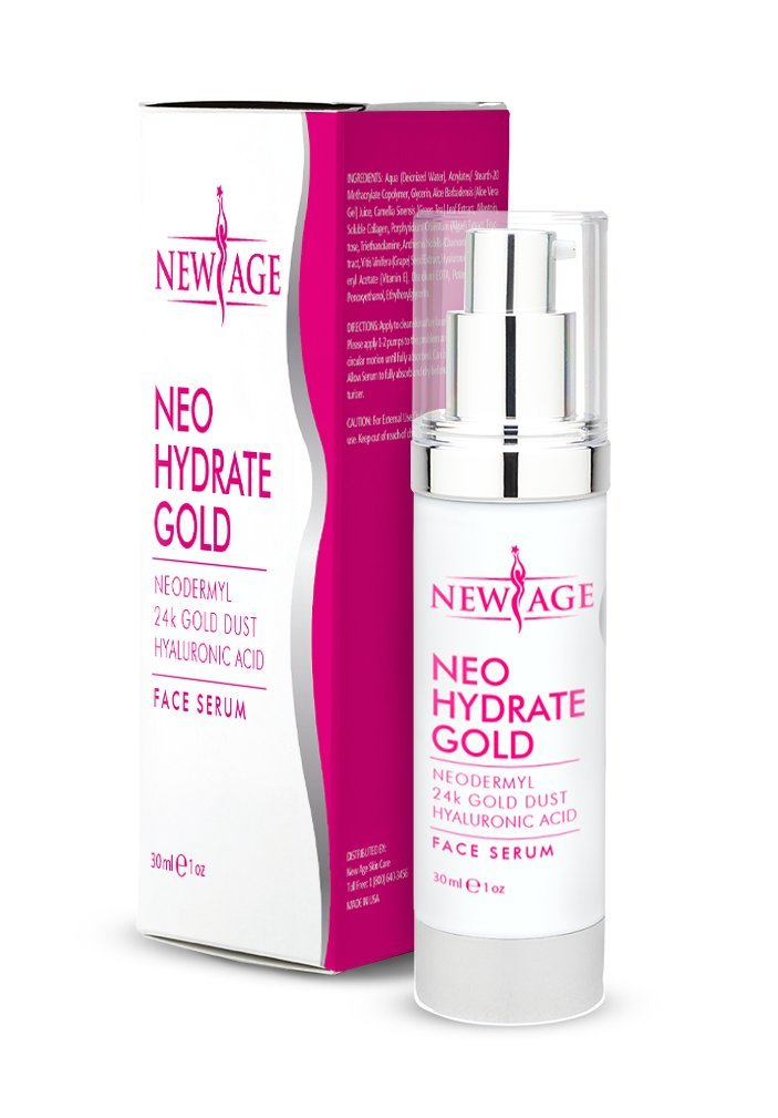 New Age Neo Hydrate Gold Face Serum and Free Vitamin C Complex Eye Serum – Natural Anti Wrinkle Serum – Facial Moisturizer Fades Age Spots and Sun Damage