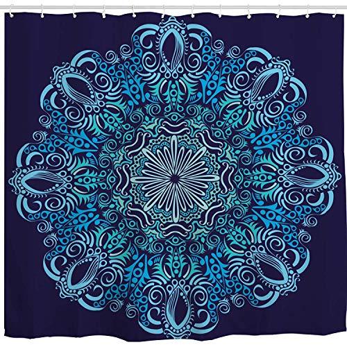 BROSHAN Navy Blue Shower Curtain Fabric,Blue Mandala Retro Boho Bohemian Style Art Print Bath Curtain,Polyester Waterproof Fabric Bathroom Decor Set with Hooks,72x72 Inch (Blue Retro Shower Curtain)