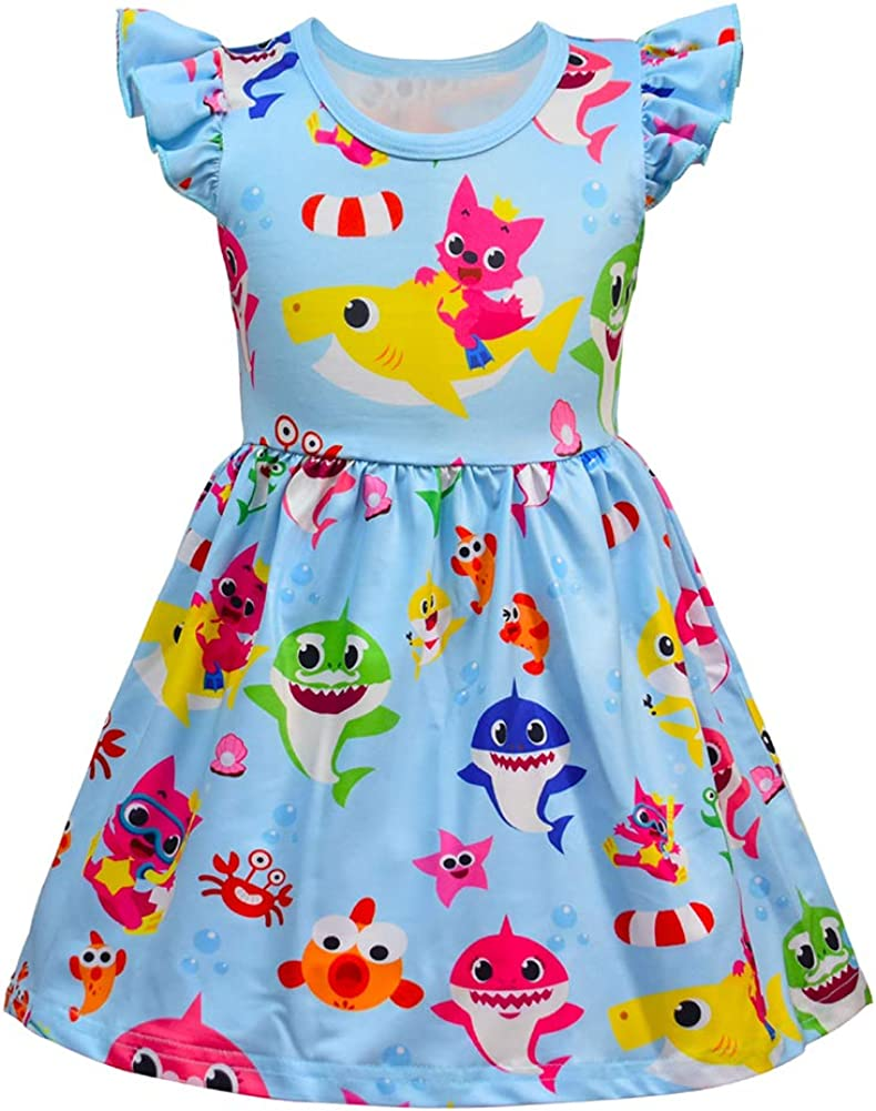 LZJLSQHYH Baby Girls Shark Cartoon Print Dress Toddle Girls Nightgown Princess Dress Up