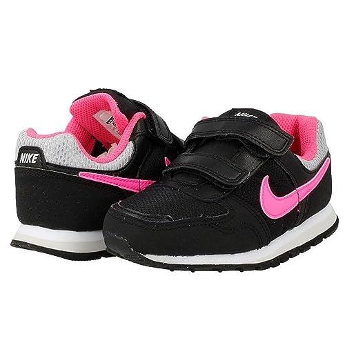Scarpe KIDS basse NIKE ROSHE ONE GS in tessuto e pelle nera con logo rosa 652968