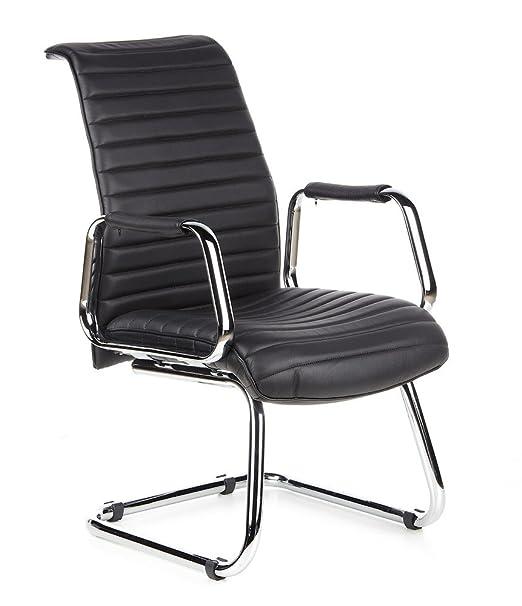 hjh OFFICE 600901 silla de confidente ASPERA V cuero napa negro, alta calidad, con apoyabrazos, cromado, silla visitante, alta gama