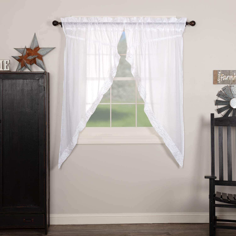 Amazon Com Vhc Brands White Ruffled Sheer 8607 Prairie Curtain Set Home Kitchen