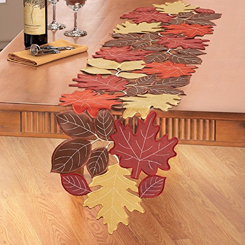 Faux Suede Fall Leaves Table Linens, Runner