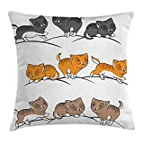 shower&home Animal Throw Pillow Cushion Cover, Vector Cute Cats...