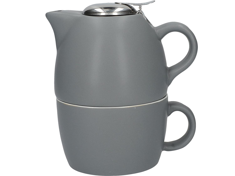 La Cafetière Barcelona Collection Tea For One Ceramic Tea Cup and Teapot Set – Cool Grey La Cafetiere (UK) Limited 5211835