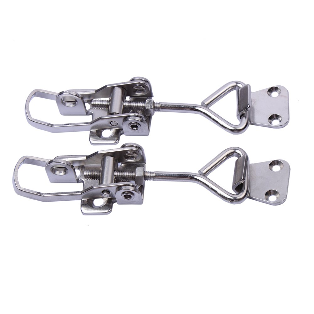 Cabinet Boxes Lever Handle Toggle Catch Latch Lock Clamp Hasp 2 Pcs Stainless Steel