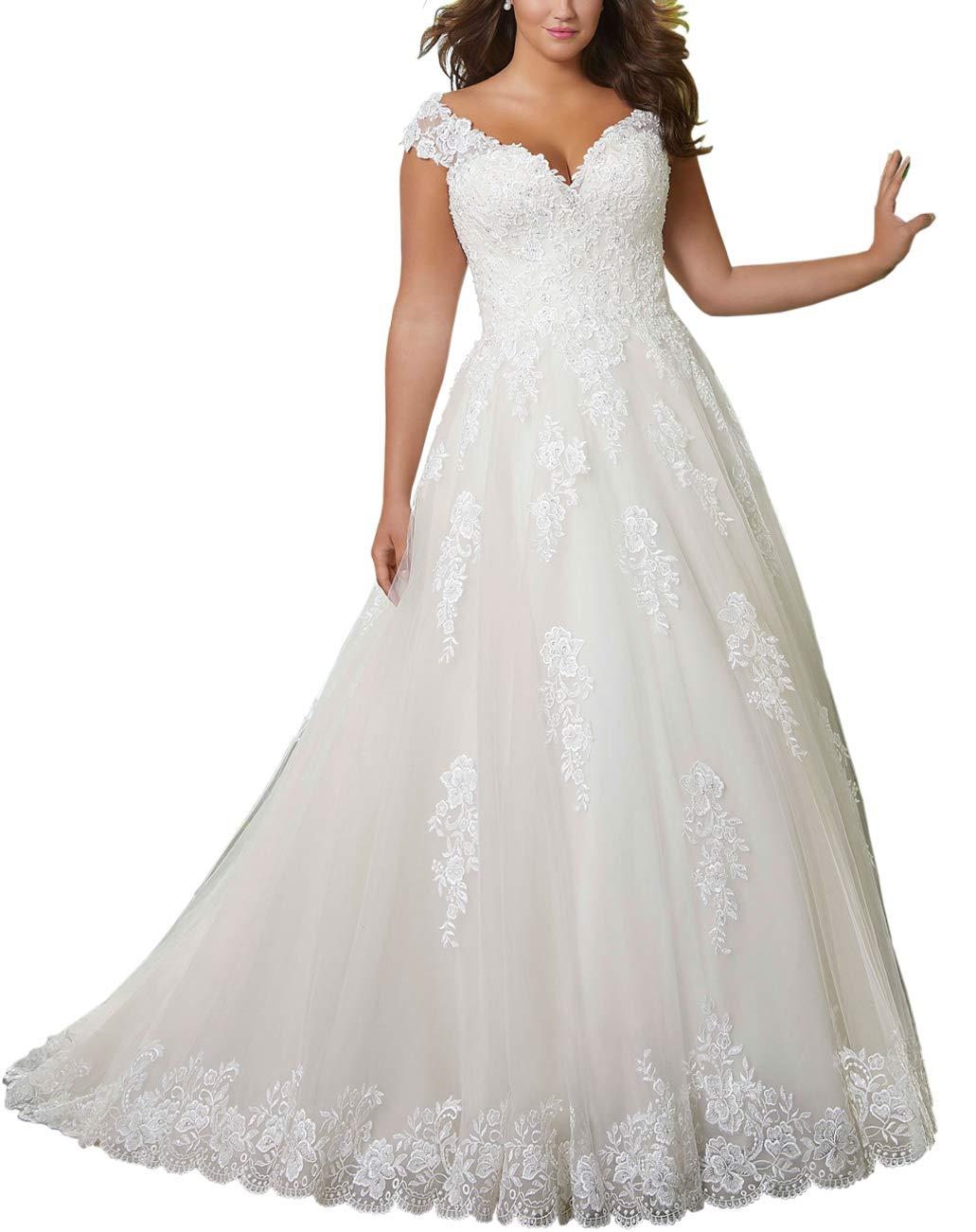 KapokBanyan Plus Size Bridal Ball Gown Vintage Lace Wedding ...